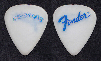 Sponge Fender White/Blue Guitar Pick - 1990s Tours