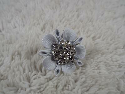 Rhinestone White Enamel Flower Ring ~ Adjustable Size 6-8 (C72)