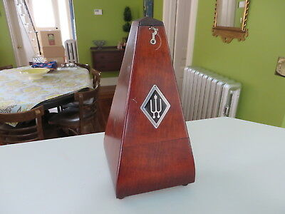 "Vintage Wittner Wood Metronome Made in Germany Working 8 1/2"" Key Wound NR"
