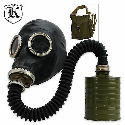 Russian Gas Mask NBC Black Rubber Military Hose Unissued - Sealed Filter w/Bag