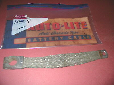 9 inch 2 gauge braided copper ground battery cable strap vintage steel NOS