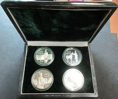 1984 China Proof Set Of Four Soldier Statue Five Yuan Coins 2.5716 Ounces Silver