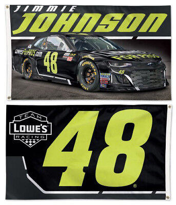 JIMMIE JOHNSON Lowe's #48 Chevy 2018 3'x5' 2-Sided Deluxe OFFICIAL NASCAR FLAG