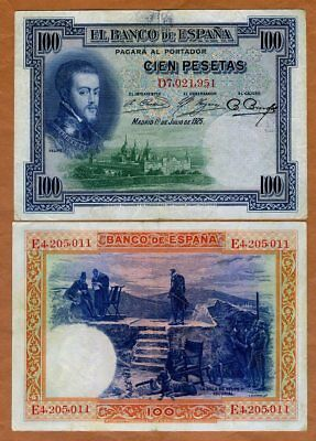 Spain, 100 Pesetas, 1925, P-69c, VF > Phelipe II and his dog
