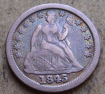 1845 Liberty Seated Dime, Better Early Date, Attractive Even Patina, VF