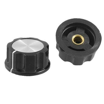 2 Pcs Replacement Plastic Nonslip Rotary Knobs Black Silver Tone