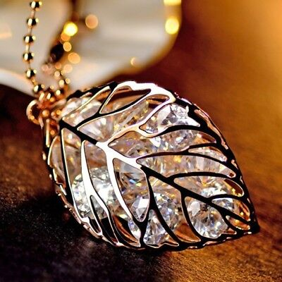 18K Gold Plated Hollow Out Leaf Pendant Necklace Jewelry Gift Crystal Chain EF