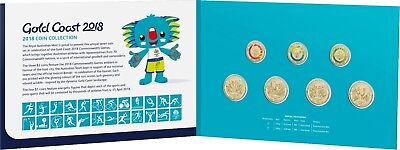 2018 Gold Coast 2018 XXI Commonwealth Games Seven Coin Collection $1 + $2 UNC