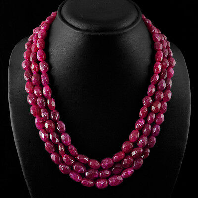Top Outstanding Rare 687.70 Cts Earth Mined 3 Line Red Ruby Oval Beads Necklace