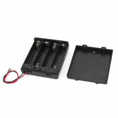 Black Plastic 15cm Wires Switch 4x 1.5V AA Battery Box Case Holder