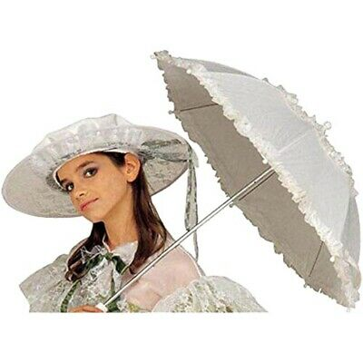 White Lace Fancy Dress Umbrella 72cm - Ruffle Parasol Carnival