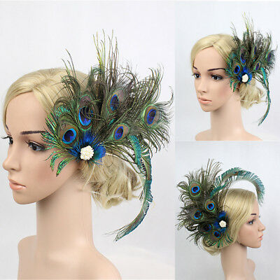 1920s Headpiece Peacock Feather Pearl Hair Clip Bridal Wedding Party Headband