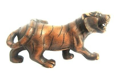 "Y4935 - 2"" Hand Carved Boxwood Netsuke Figurine Carving: Ferocious Tiger"