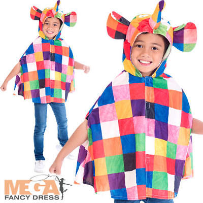Elmer Cape Kids Fancy Dress Patchwork Elephant World Book Day Childs Costume Acc