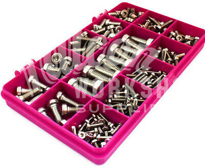 205 Assorted A2 Stainless Steel M3M4M5M6M8 Low Head Socket Caps Bolt Screw Kit