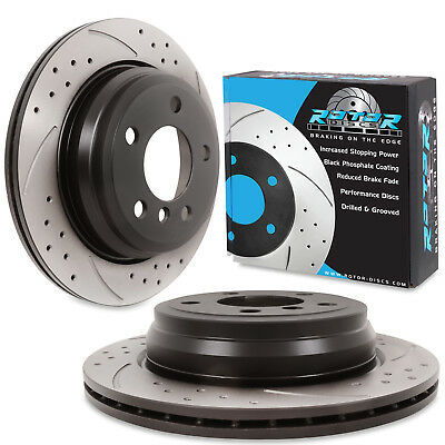 REAR DRILLED GROOVED 300mm BRAKE DISCS FOR BMW 3 4 F30 F31 F34 F32 F33 F36 D XD