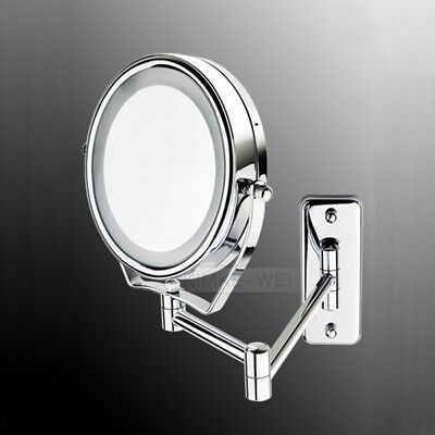 """7X Magnifying 6"""" LED Lighted Wall Mount Bathroom Shaving Makeup Cosmetic Mirror"""