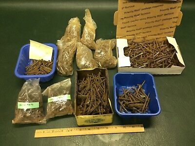 16 LBS Lot Antique Rosehead & Square Cut Nails Assorted Sizes Hardware