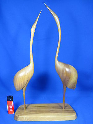 Beautiful handcarved 60´s design pair of crane birds / Paar Kraniche 42 cm