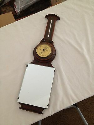 """Antique Lufft Wood Oak Thermometer Barometer Mirror  22"""""""