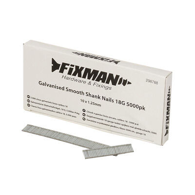 Fixman Galvanised Smooth Shank Nails 18G 5000pk 10 x 1.25mm | 298788