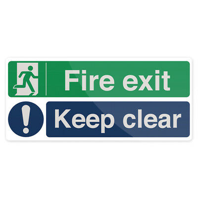 Fixman Fire Exit Keep Clear Sign 450 x 200mm Self-Adhesive | 754376
