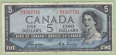 1954 Bank of Canada 5 Dollar Devil's Face Note - Coyne/Towers - B/C1567741 - VF