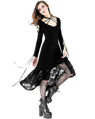 Dark In Love Gothic Dress Black Steampunk Victorian VTG Long Sleeve Lace Witch