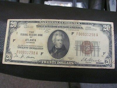 1929 $20 National Currency Atlanta Georgia Federal Reserve Bank