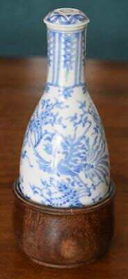 Antique Chinese Blue And White Hand Painted Sake Bottle With Wooden Holder #1