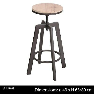 Tabouret Chaise Bar Design Rglable Loft Industriel Contemporain Bois Metal 889