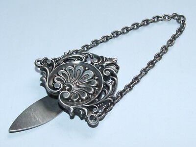 Beautiful Looking Scare Antique 1905 Solid Sterling Silver Chatelaine Clip / Top
