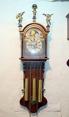 Old Big Wall Clock Friesen Dutch Clock 8 Day Westminster 117cm.with Moonphase