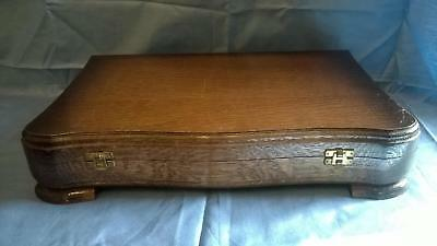 Antique Vintage Wooden Oak Cutlery Canteen Box with Curved front