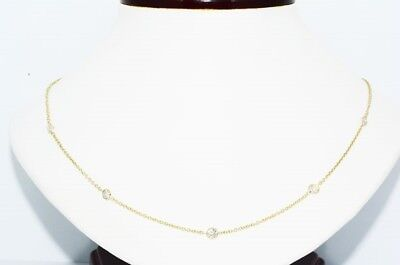 $4,000 1.22Ct Natural Round Cut Old Mine Diamond By The Yard Necklace 14K