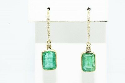 $3,000 4.57Ct Natural Emerald & Diamond Cluster Dangle Earrings 14K Yellow Gold