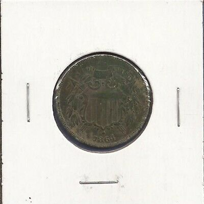 1864 Two Cent Piece,2¢ Copper,circulated in very fine porous,Nice! CP74