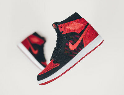 competitive price e7c2f 580f4 Nike Air Jordan 1 Retro High Flyknit Banned Bred Black Red SZ 10  919704-