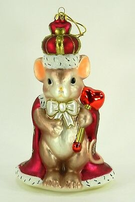 Fitz and Floyd, Giant Mouse Glass Ornament, Charming Tails King of My Heart, Box