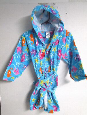 Girls Blue W/ Multi- Color Fish Beach Cover Up Size L-10/12