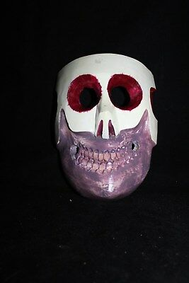 061 COLORED DEATH MEXICAN WOODEN MASK skull calavera hand painted artesania