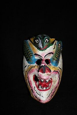 087 RARE SKULL MEXICAN WOODEN MASK artesania zompantle wall decor home calavera