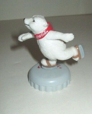 "Coca Cola Coke Soda Mascot Polar Bear Ice Skating On Bottle Cap 2.5"" Pvc Figure"
