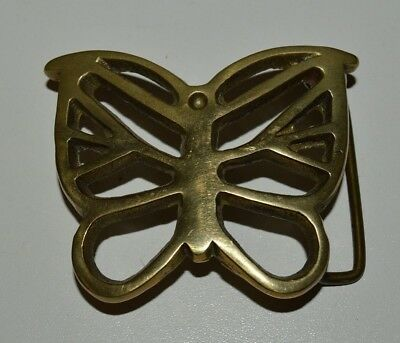 Vintage See Through BUTTERFLY 1970s Boho Hippie Solid Brass Belt Buckle Rare