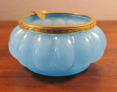 Antique French Blue Opaline Art Glass Bowl with Gold Ormolu Edge and Leaf Mount