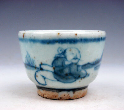 Antique Blue&White Glazed Porcelain Ancient Figurines Hand Painted Cup #10291710