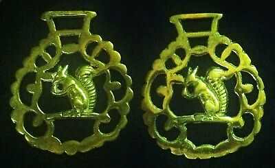 2 Vintage SQUIRREL EATING NUT ORNATE FRAME Horse Harness Brasses WOW YOUR WALLS!