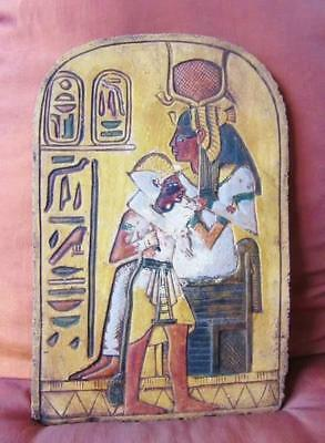 RARE Hand Carved Antique Egyptian Wall Plaque of Ancient Queen ISIS Nursing