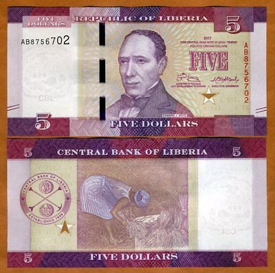 Liberia, 5 dollars 2017 (2018), P-New, UNC > Redesigned, New Date