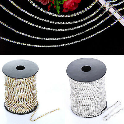 2-4mm Crystal Rhinestone Close Chain Trim Sewing Craft DIY Crystal Chain Newest